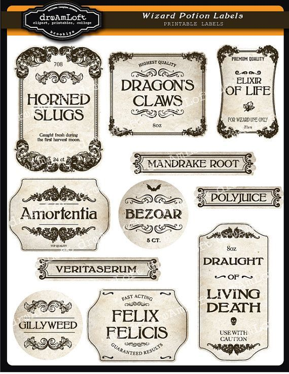 Wizard Potion and Halloween Apothecary Printable Frames and Labels