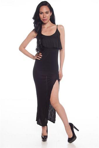 Ruffle Rumba Ruffled Side Slit Maxi Dress - Black from Iris Los Angeles at Lucky 21