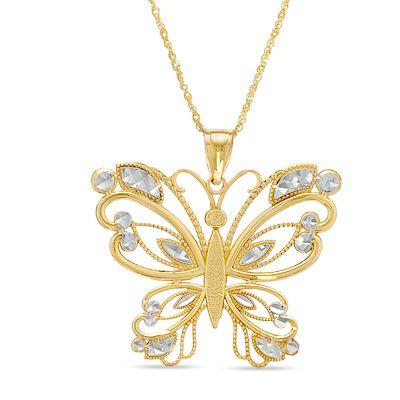 Zales Diamond-Cut Butterfly Pendant in 10K Two-Tone Gold CCikynYu