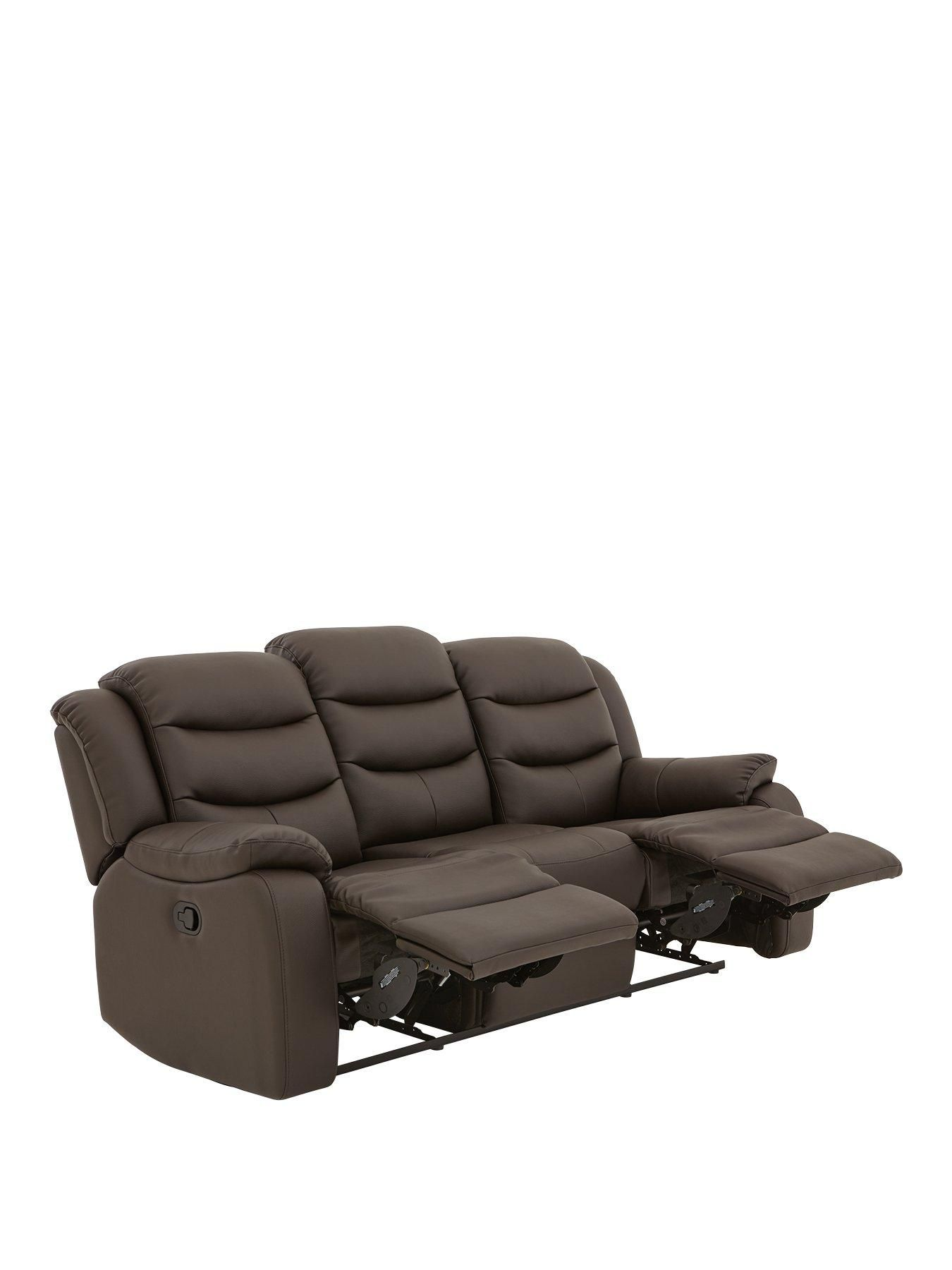Rothbury Luxury Faux Leather 3 Seater Manual Recliner Sofa