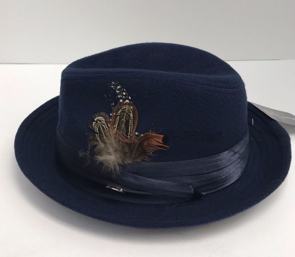 1cf3354afd3a1 Men s Fedora Navy Dress Hat Montell Collection by Bruno Capelo Wool Blend  New  BrunoCapelo  Fedora
