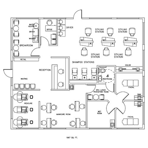 Salon spa design floorplan layout 1967 square feet for Salon design layout