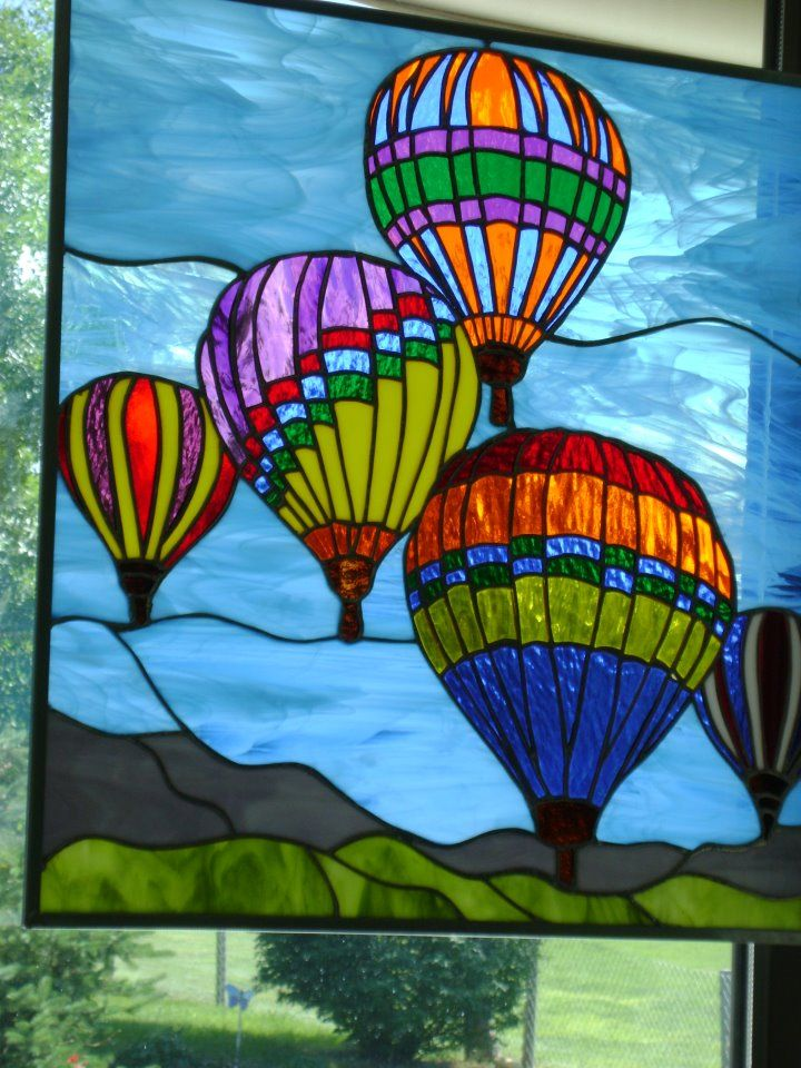 Printable Hot Air Balloon Stained Glass Pattern