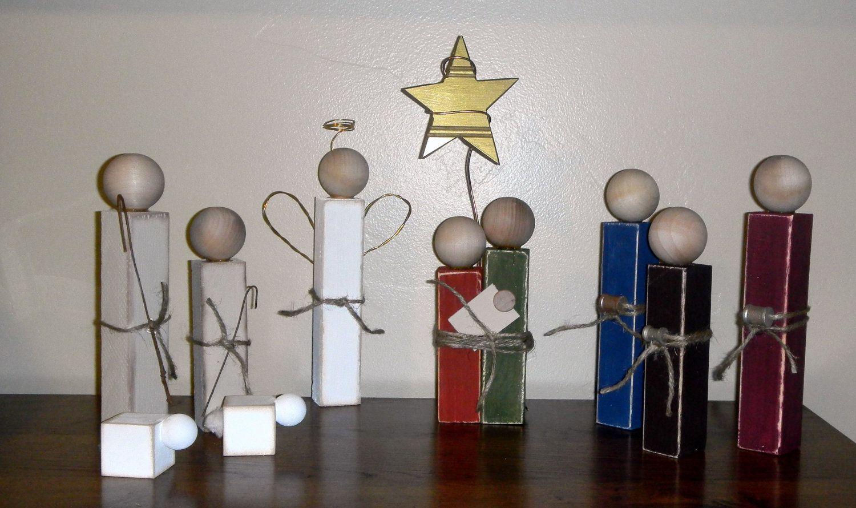 Simple Wooden Nativity Set By Suzipe On Etsy 24 99
