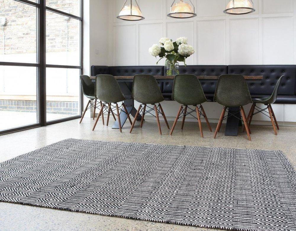 Details zu Moderner Designer Teppich Sloan Rug Black Schwarz/Weiß ...