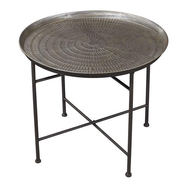 Atascosa Round Hammered Metal Tray End Table Table