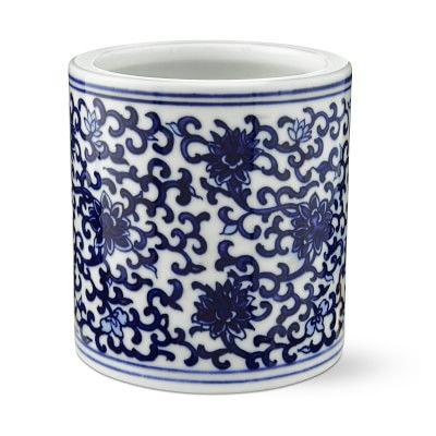 Petite Blue White Cachepot Vine White Ceramic Planter Blue And White Blue White Decor
