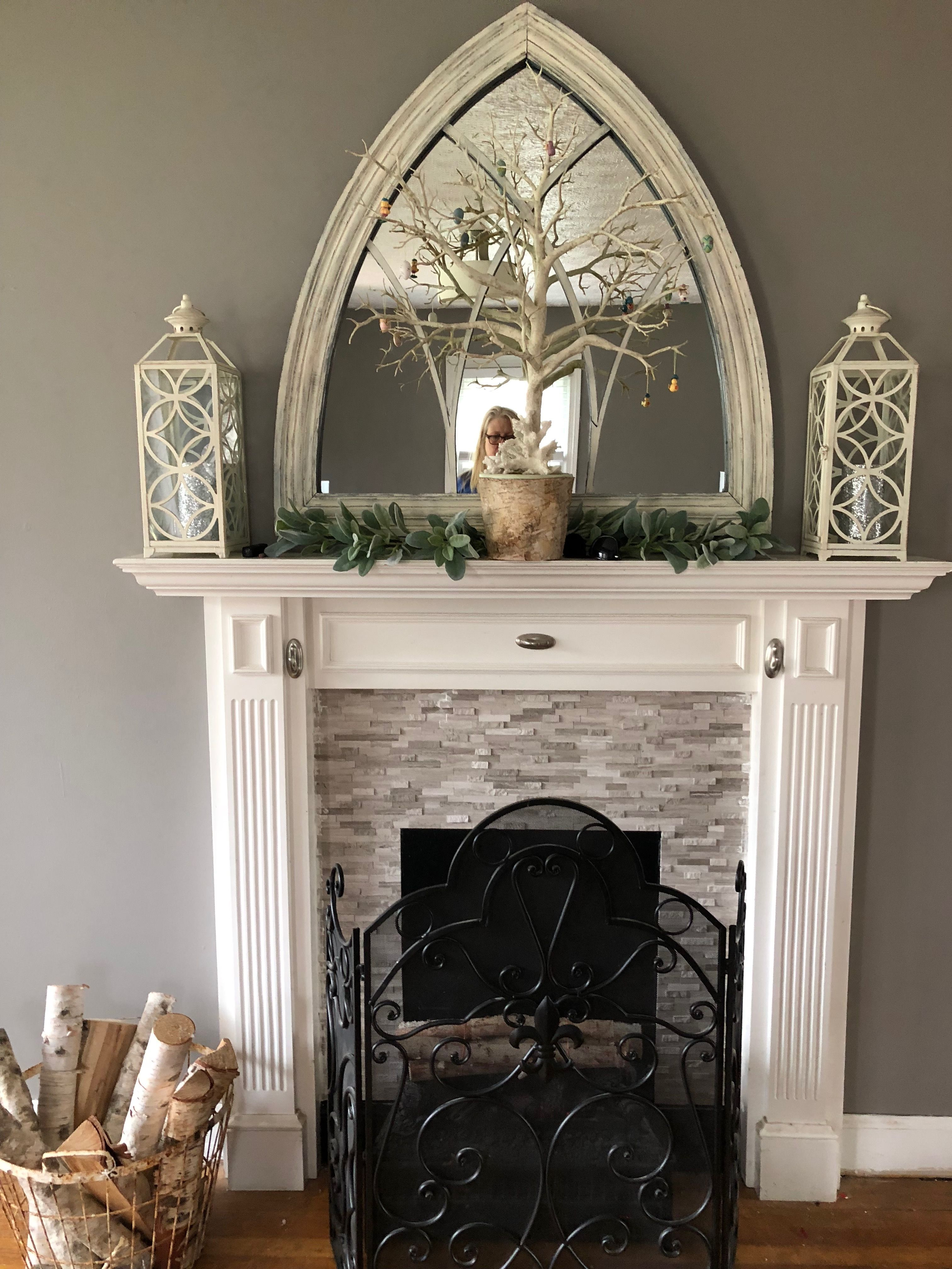 Medium Gray Walls With Destressed White Accents Taupe Gray Peel And Stick Stone Tile In The Faux Fireplace Tile Around Fireplace Fireplace Tile Faux Fireplace