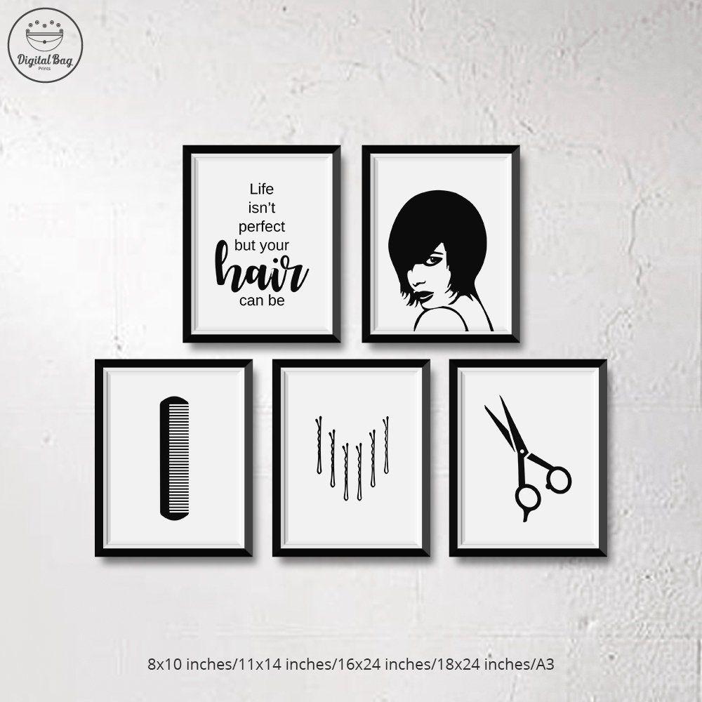 Set Of 5 Hair Salon Prints Hair Salon Decor Hair Salon Art Etsy