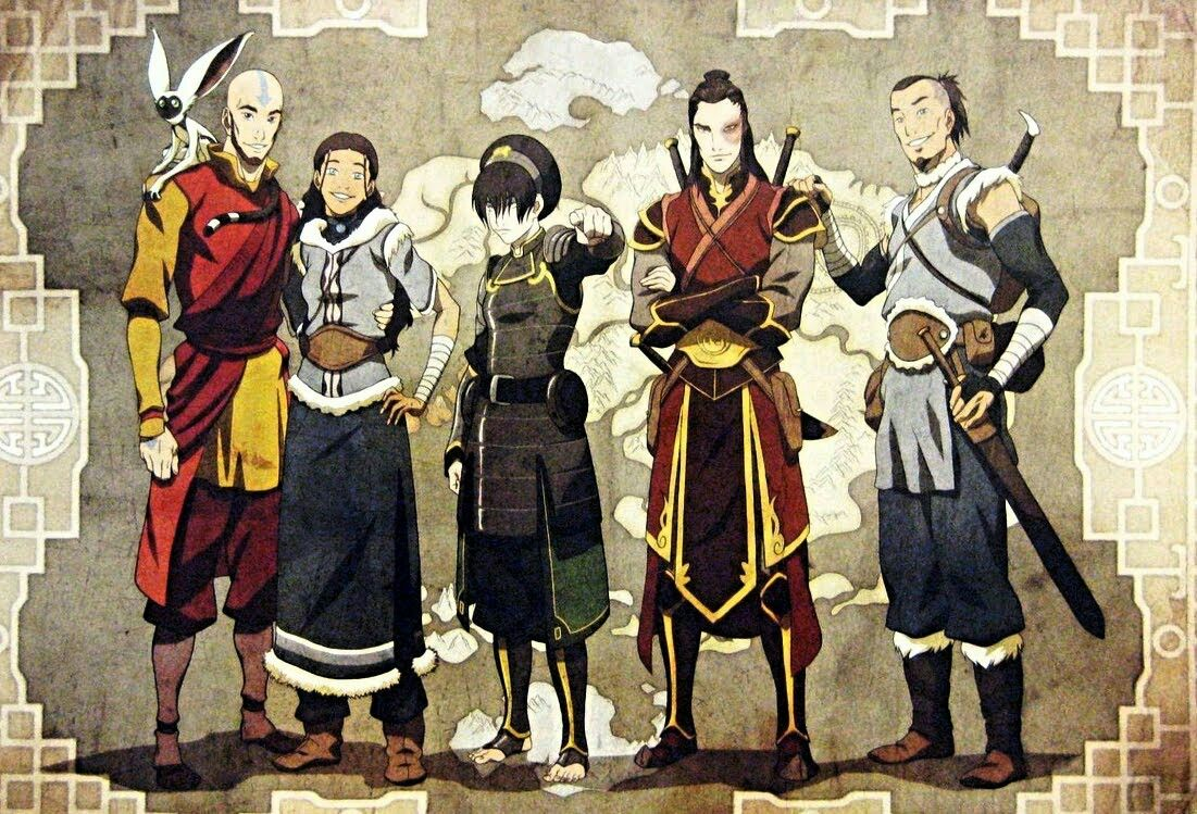 Aang Katara Tof Suko And Sokka Erwachsen Avatar La Leyenda Personajes De Avatar Avatar