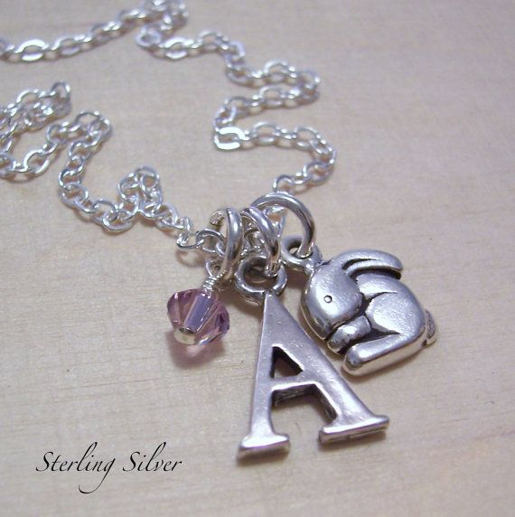 Initial Charm Necklace Personalized Bunny by