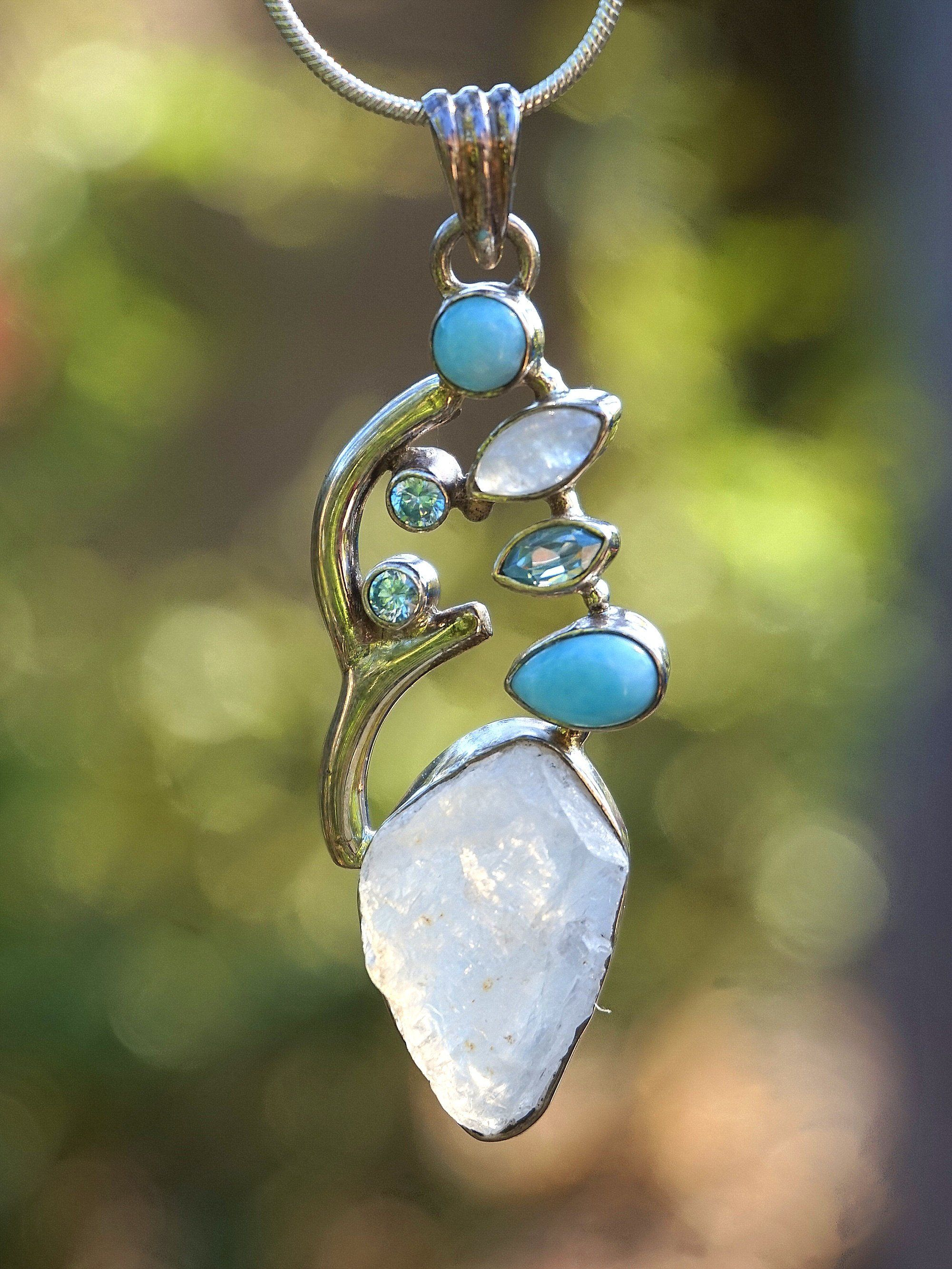 Gemstone Necklace Pendant Necklace Moonstone Drop Necklace Artisan Necklace Leaf Pendant Necklace Silver Leaf Necklace Long Necklace