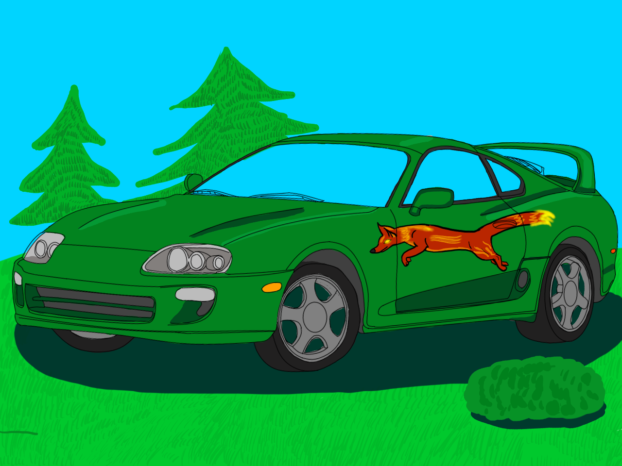 On A Toyota Supra Mk.IV I Made A Little Fire Fox In A Forst