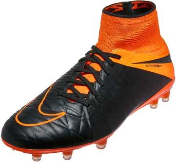Nike Hypervenom Phantom II Leather FG Soccer Cleats - Black and Orange 655829f4e14a5