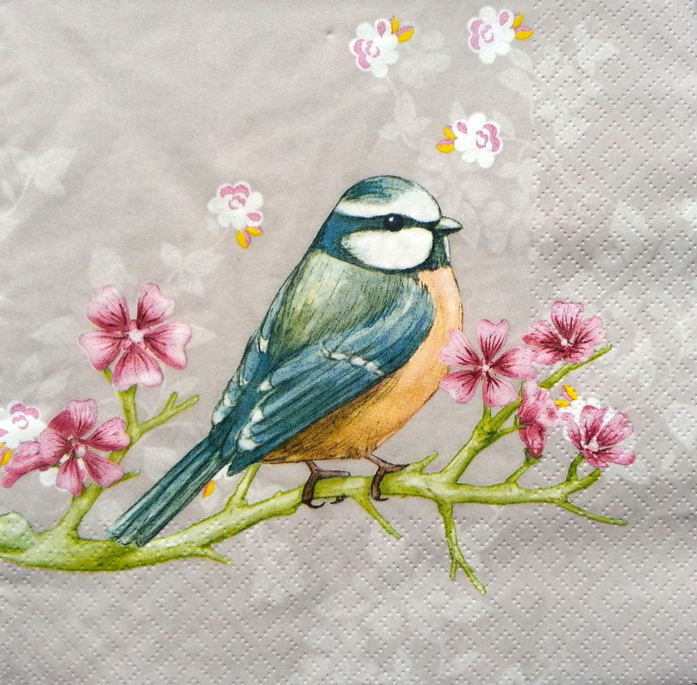 4 Single Lunch Paper Napkins for Decoupage Craft Napkin Little Birds  light blue