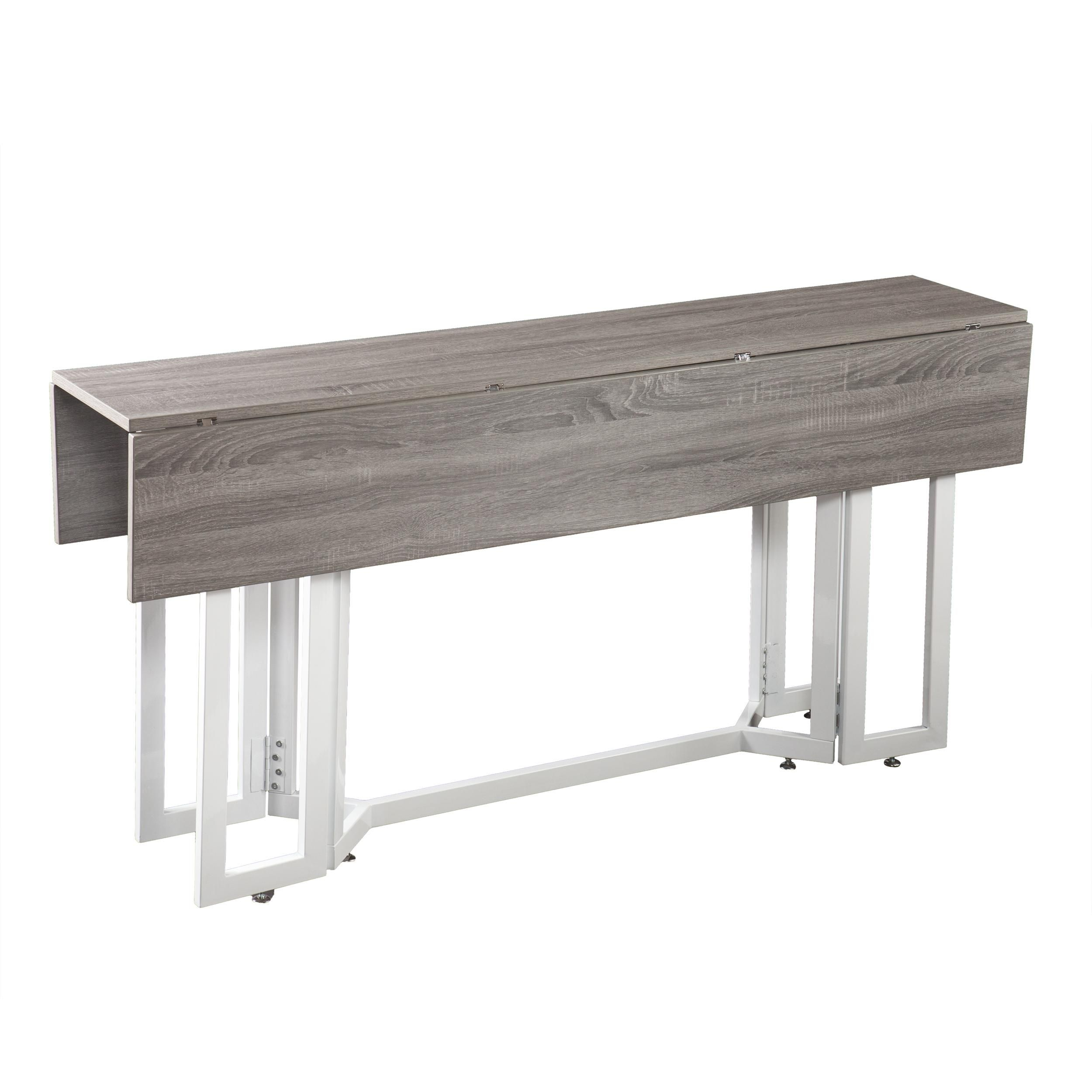 Weathered Oak w// Black Metal Base Seats 4 to 6 Driness Drop Leaf Console Dining Table