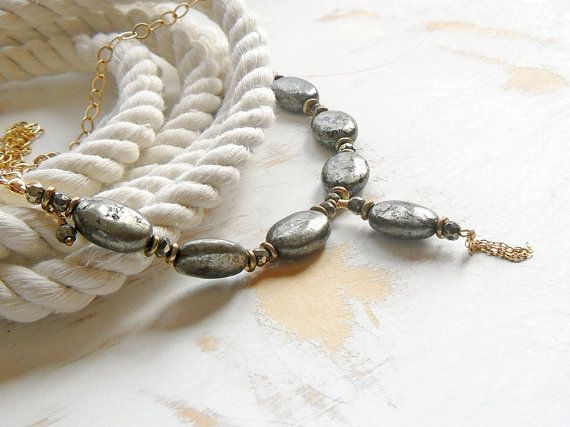 Pyrite Necklace on Golden Chain Statement Jewelry by bluetina