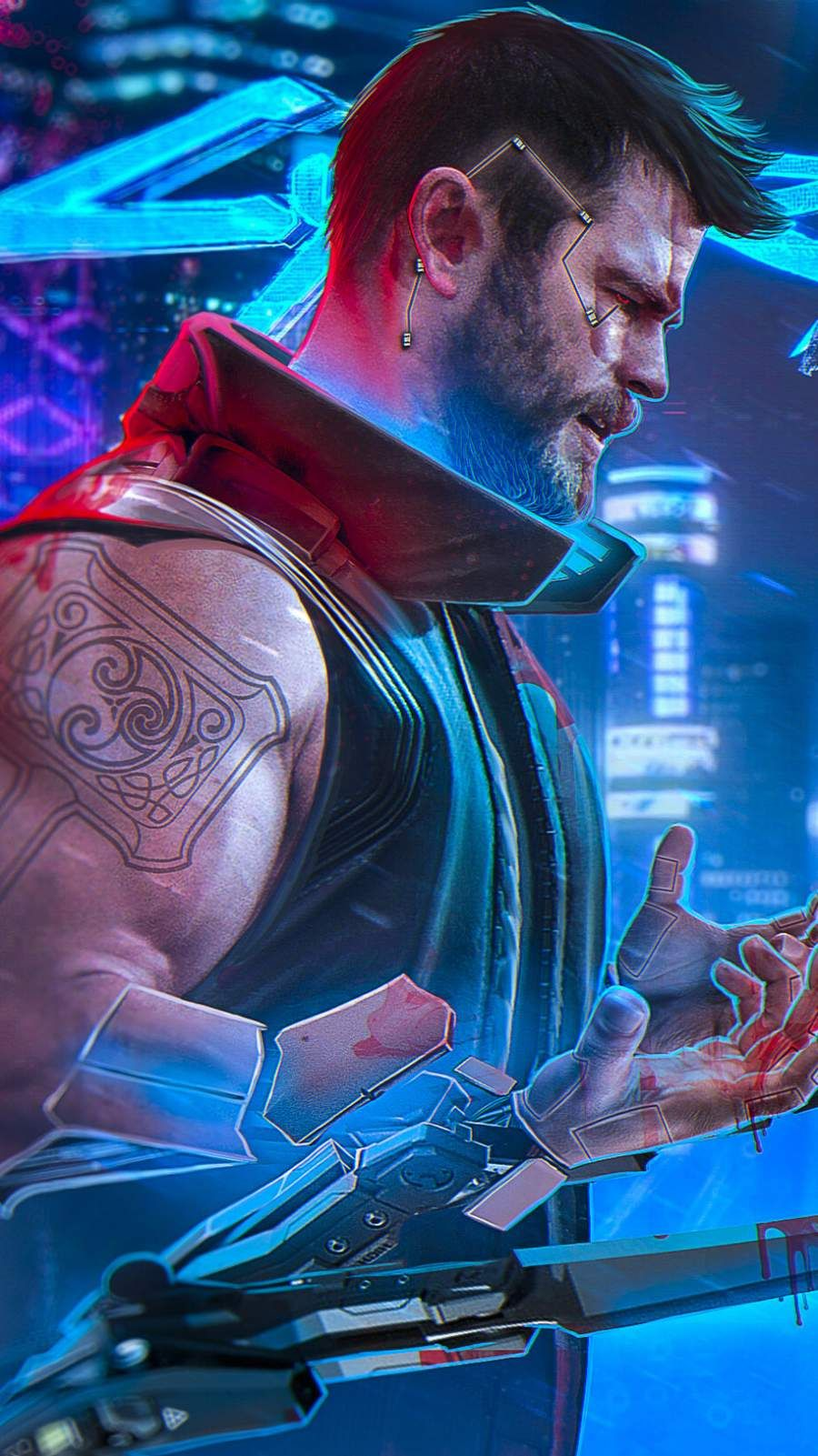 Thor Cyberpunk iPhone Wallpaper in 2020 Superhero