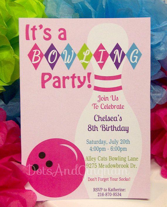 Bowling InvitationBowling InviteBowling By Dotsandgingham  My