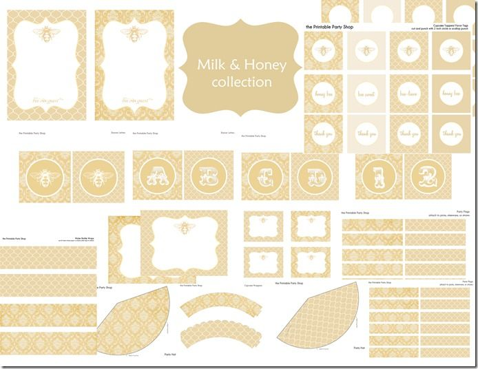 Printable Party Shop Milk and Honey Bee set Printables Party