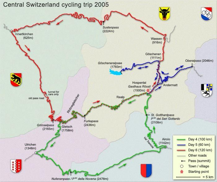 Map of Central Switzerland showing the winding passes and their