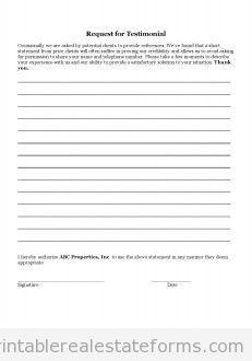 Free Testimonial Letter Printable Real Estate Document Real Estate Forms Letter Form Real Estate Templates