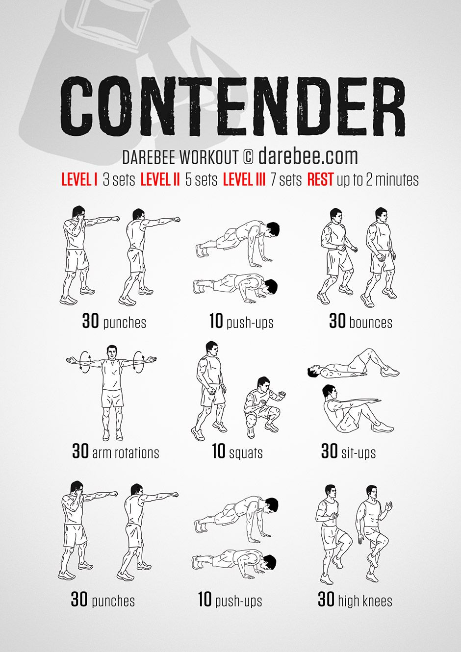 Contender Workout Boxer workout, 100 workout, Boxing