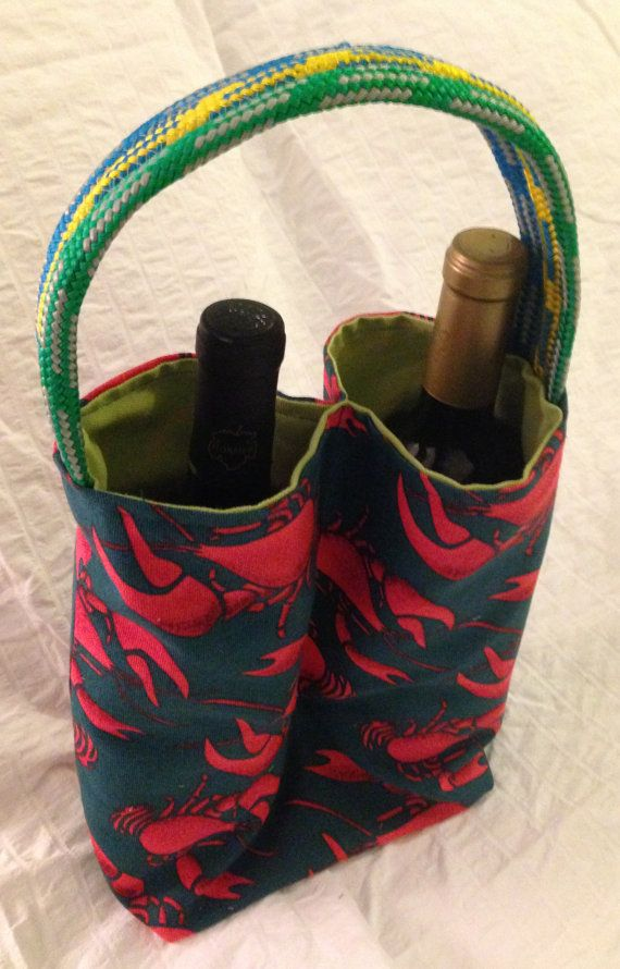Double Wine Tote  Nautical Lobster by HeyItsMaryBags on Etsy, $15.00