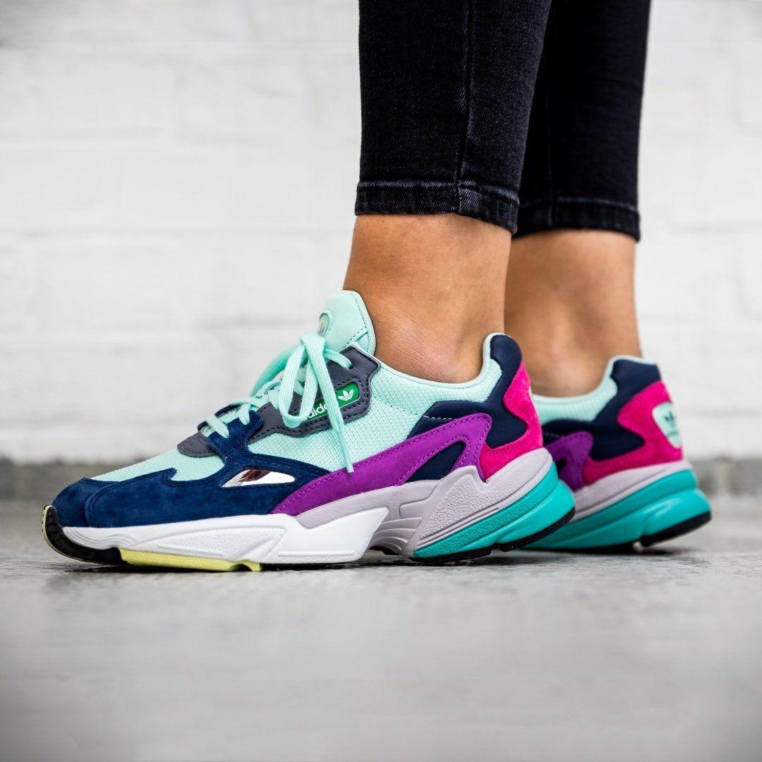 half off 35476 48661 Release Date  September 6, 2018 Womens Adidas Falcon Mint  Navy https