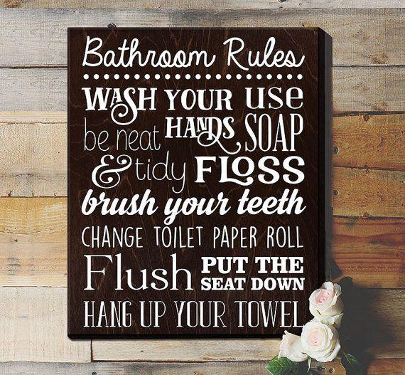 Bathroom Rules Sign Bathroom Rules Sign Rustic By Elegantsigns
