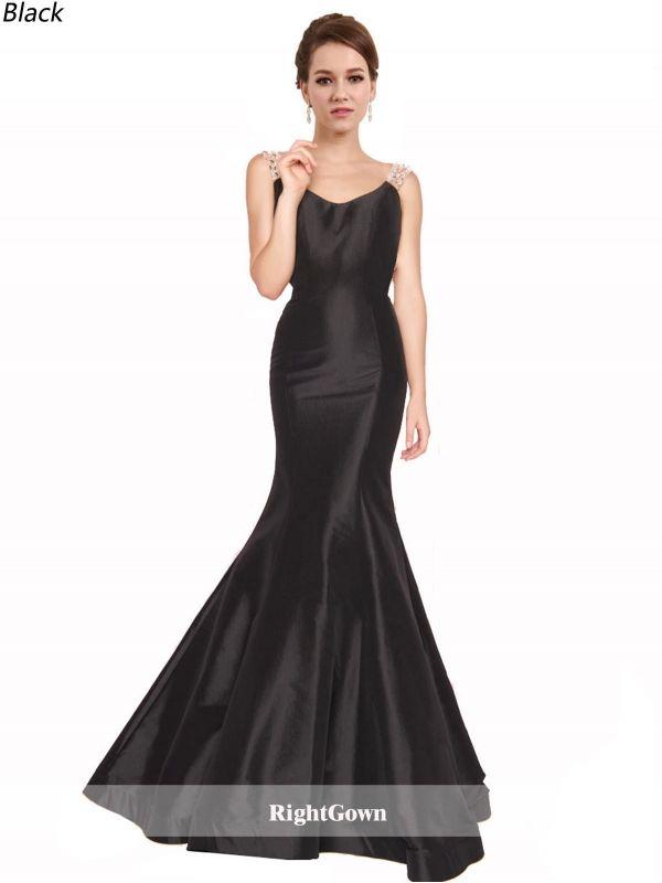 Best for Prom, Buy Mermaid Scoop Neck Long Taffeta Sleeveless Black ...