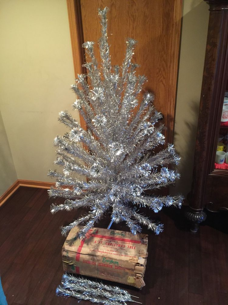 vintage 6 evergleam pom pom 94 branch aluminum christmas tree orig box stand ebay - Aluminum Christmas Tree Ebay