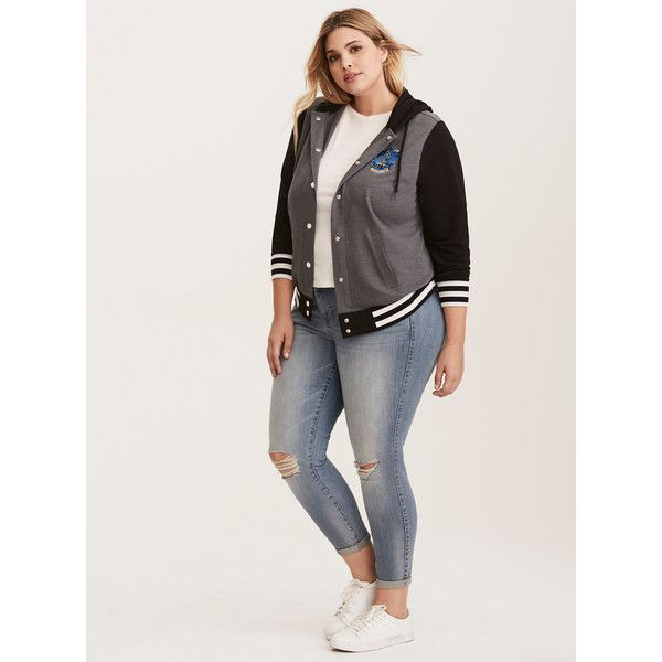 a433096f010c2 Torrid Harry Potter Ravenclaw Hooded Varsity Jacket ( 49) ❤ liked on Polyvore  featuring outerwear