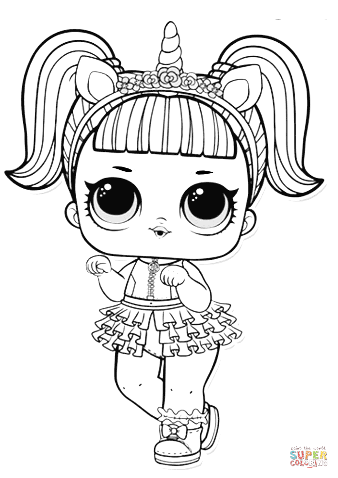 Lol Surprise Doll Unicorn Coloring Page Free Printable Coloring