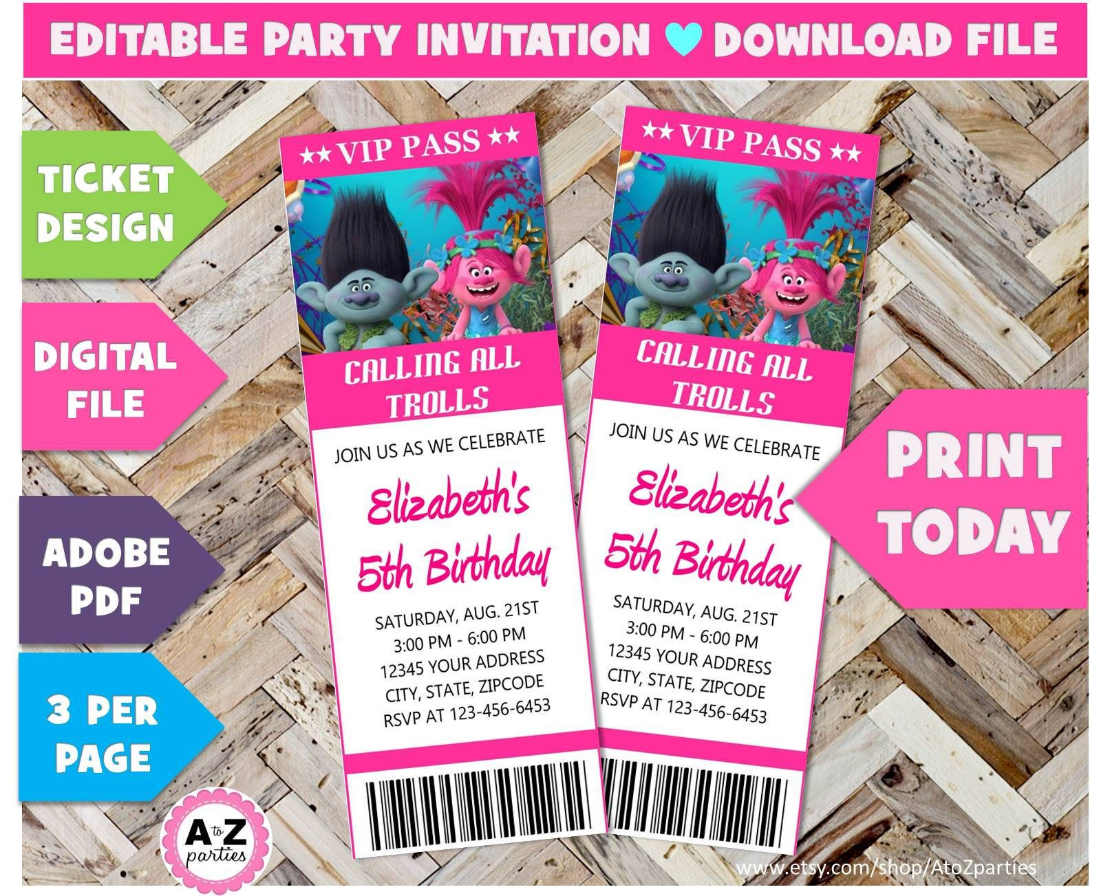 395 download sale trolls birthday invitation vip pass editable 60 off download sale trolls birthday invitation vip pass editable trolls edit with adobe trolls party ticket 3 per page instant dow stopboris Images