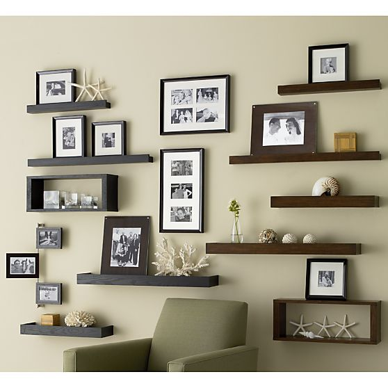 Archetype Espresso 3 Ledge In Frames Ledges Crate And Barrel Floating Shelves Living Room Decorating Small Spaces Decor
