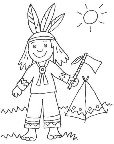 Cowboys & Indianer: Kostenlose Malvorlage: Indianer und sein Zelt ...