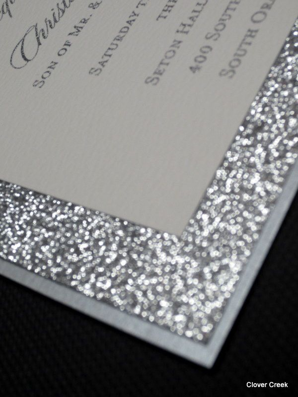 Silver sparkly wedding invitations from Clover Creek wedding