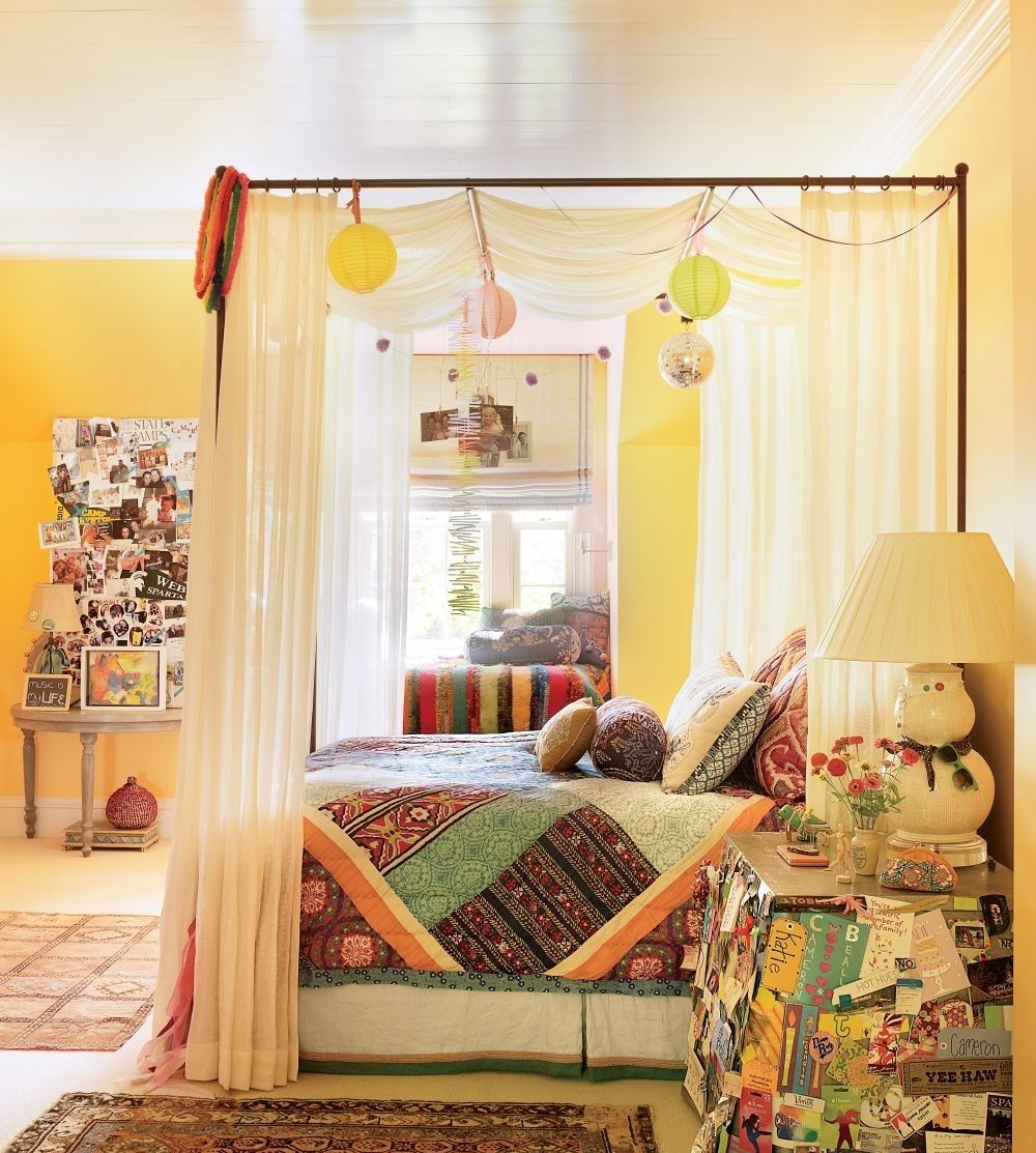 bohemian chic kids bedroom bohemian bohochic chic kidsbedroom canopy - Yellow Canopy Interior
