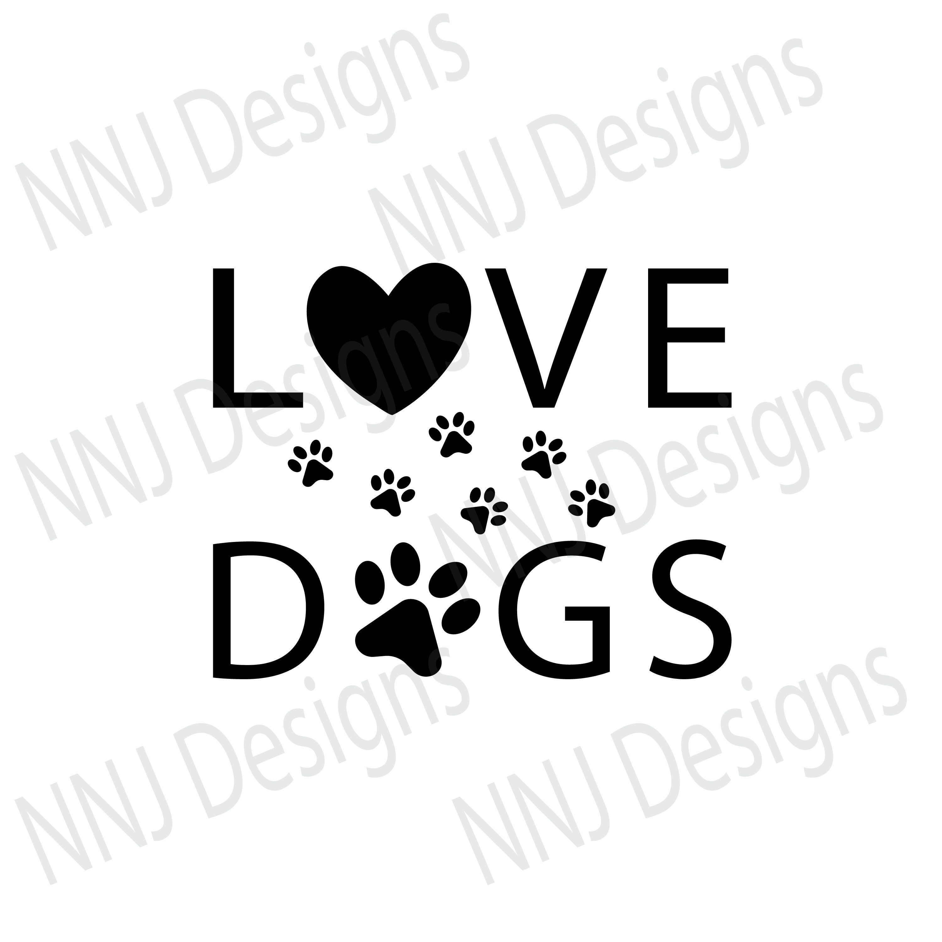 Download Love Dogs Paw Print SVG Pets Lover Heart Clipart ...