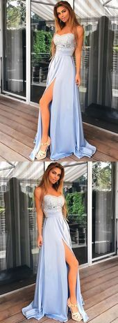 Unique Prom Dresses Charming Light Blue Prom Dress Spaghetti Straps Chiffon Prom Dress Long Lace Top Prom Dress Split Evening Party Gowns #fashion #style #stylish #love #cute #photooftheday #nails #hair #beauty #beautiful #instagood #pretty #swag #pink #eyes #fashionmodel #fashiondaily #longnails
