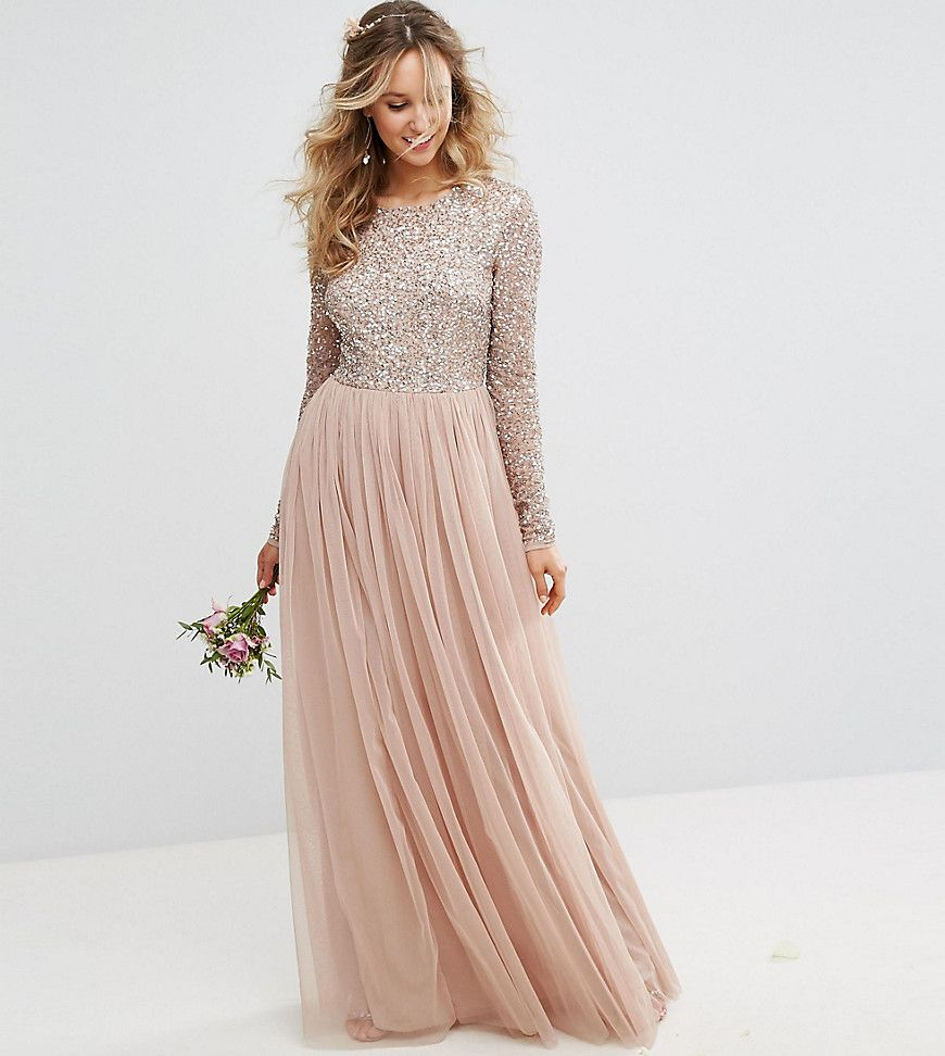 Maya long sleeved maxi dress with delicate sequin and tulle skirt in