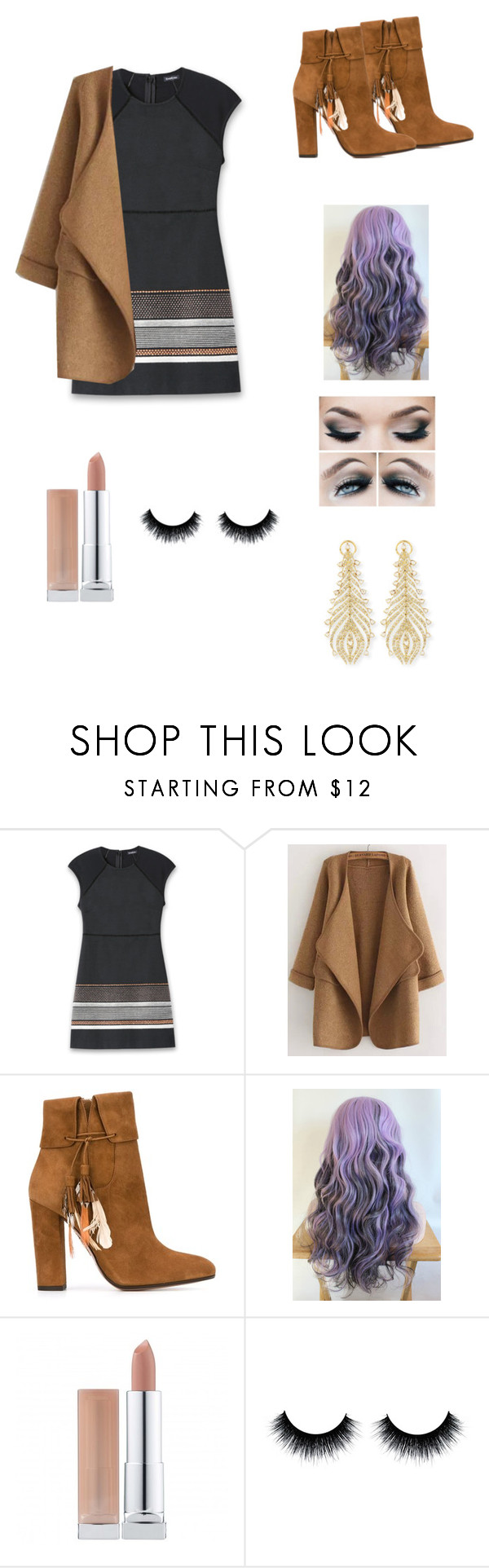 """""""Purple Hair and Earth Tones"""" by petite-chic ❤ liked on Polyvore featuring Bebe, WithChic, Aquazzura and Sutra"""