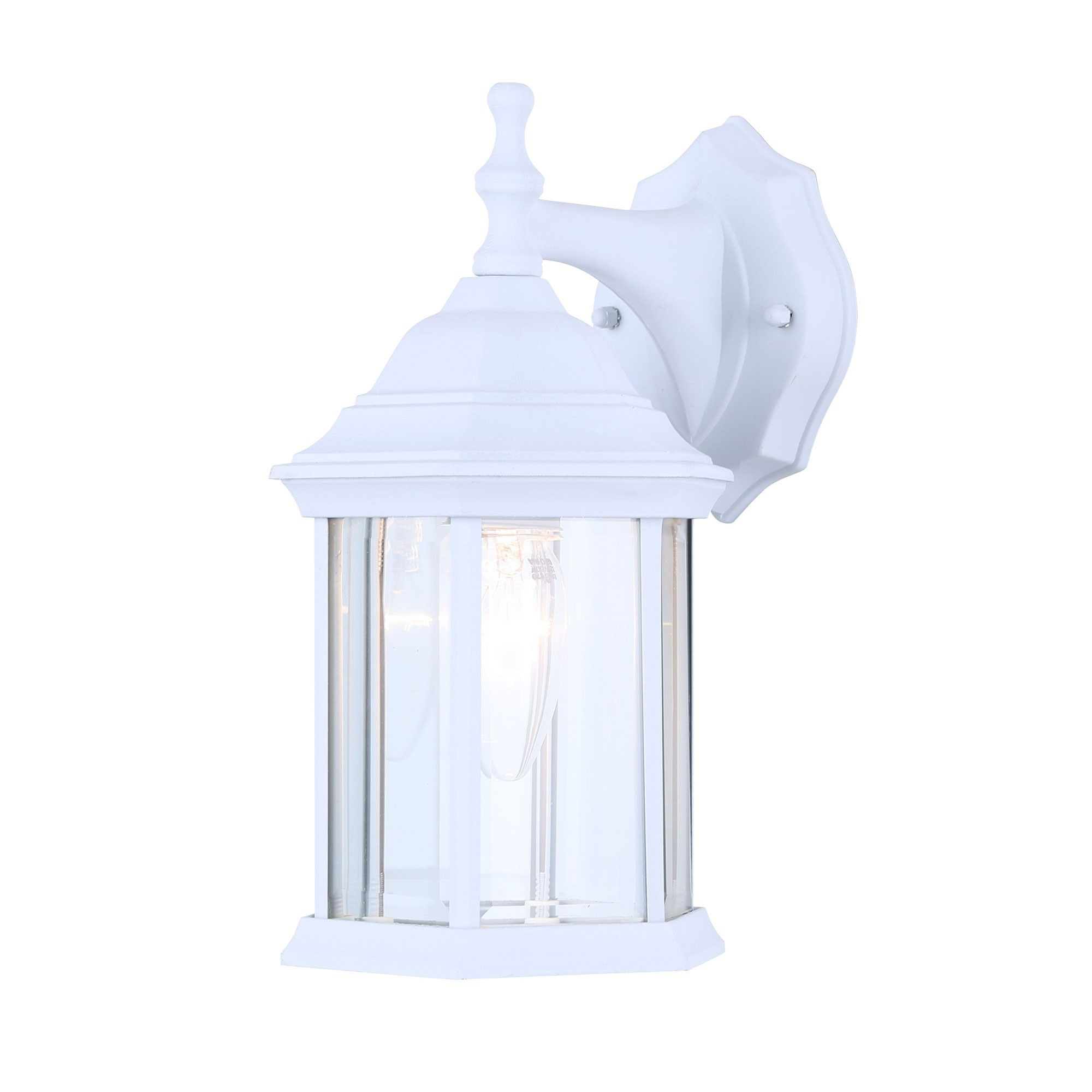 Canarm Iol4wh Exterior Outdoor Light Fixture Wall Lantern Sconce Beveled Glass White Outdoor Light Fixtures Exterior Light Fixtures Wall Lantern