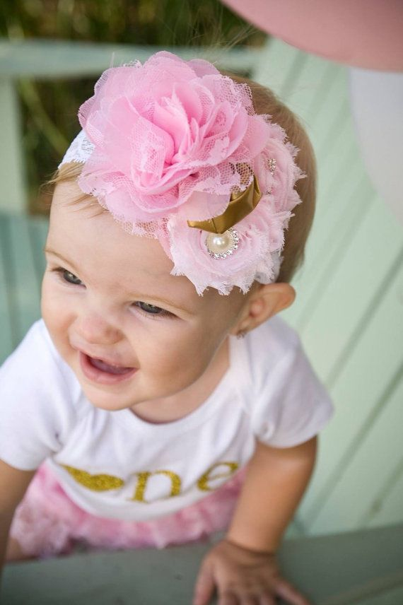 Pink and Gold First Birthday...Birthday Headband...Baby Girl 1st Birthday...Birthday  Girl Headband. 3d0e0480ca1