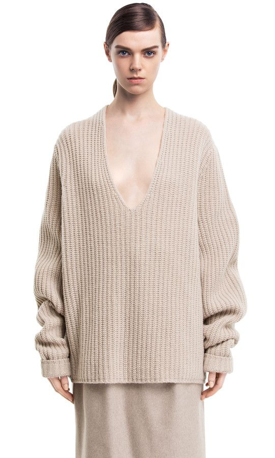 Deborah beige boyfriend sweater #AcneStudios #PreFall2014 | style ...