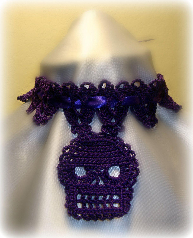 Purple Crochet Victorian Skull Mourning Choker