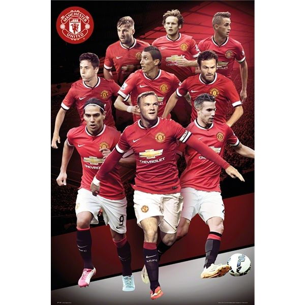 Manchester United 14 15 Collage Poster Worldsoccershop Com Manchester United Players Manchester United Manchester United Team