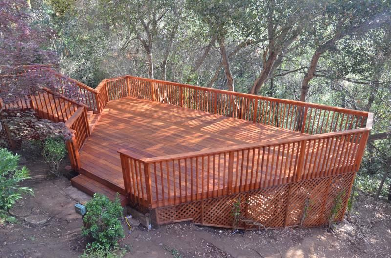 Three level decks and patios on a hillside redwood deck for Redwood deck plans