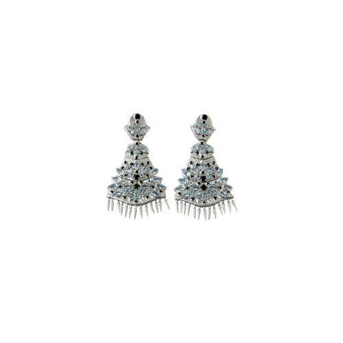 Paul Morelli Applique Sterling Silver Blue Topaz & Black Spinel Dangle Earrings